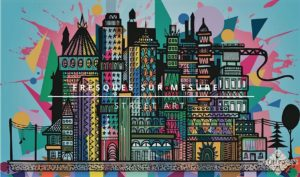 image représentant une fresque d'une ville multicolore
