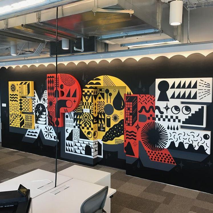 image représentant une fresque contenant des motifs cartoons