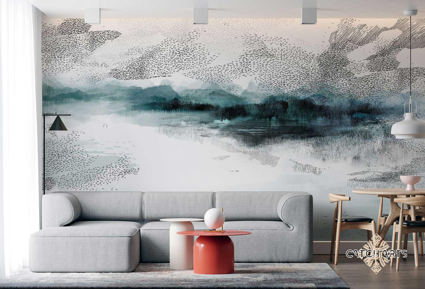 image représentant deux papiers peints sur-mesure CATCH ARTS